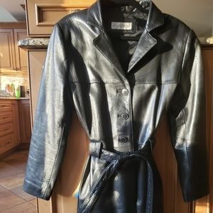 Jones New York Leather Trench Belted Coat